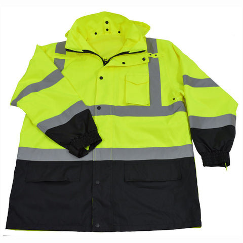 LBPJLW-C3 ANSI/ISEA 107-2015 Class 3 Lime /Black Waterproof Light Weight Rain Parka Jacket / Trench Coat