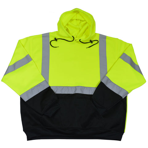 LBPUHSW-C3 ANSI 107-2015 Class 3 Two Tone LIME/Black Bottom Pullover Hooded Sweatshirt