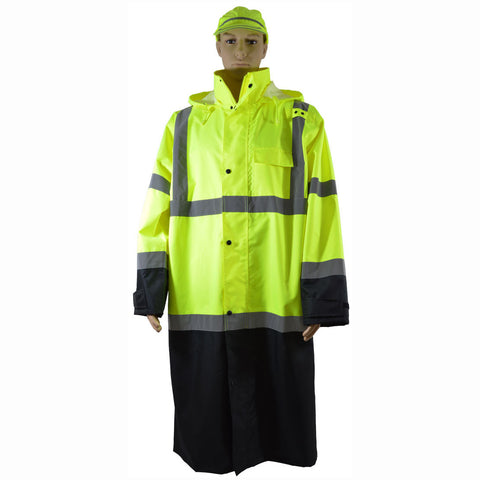 "LBRC-48-C3 ANSI Class 3 Black Bottom Waterproof 48"" Long Rain Coat"