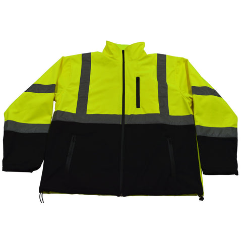 LBSFJ1-C3 ANSI 107-2015 Class 3 Two Tone LIME/Black Bottom Water Resistant Soft Shell Jacket
