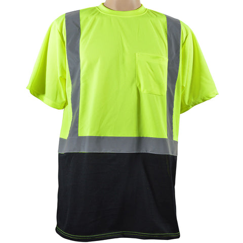 LBTS2 Lime Mesh Black Bottom ANSI Class 2 T-Shirt Short Sleeve