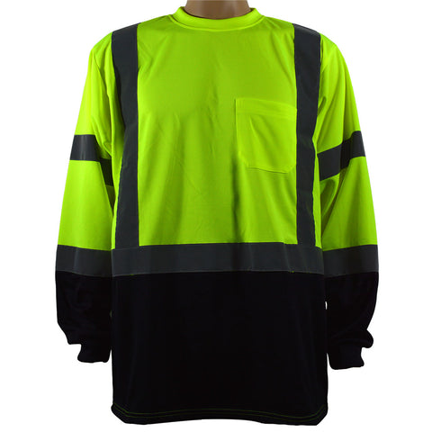 LBTSL3 ANSI Class 3 Lime High Vis Long Sleeve T-shirt with Black Bottom Design