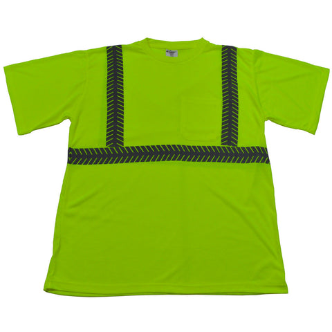 LJTS2 ANSI Class 2 Lime Jersey Knit Pocket Short Sleeve T-Shirt