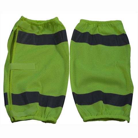 LMG-CE ANSI Class E Lime Mesh Reflective Leggings/Gaiters With Adjustable Velcro Closures