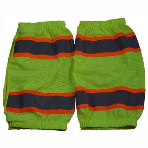 LMGO-CE ANSI Class E Lime Mesh/Orange Contrast Reflective Leggings With Adjustable Velcro Closures