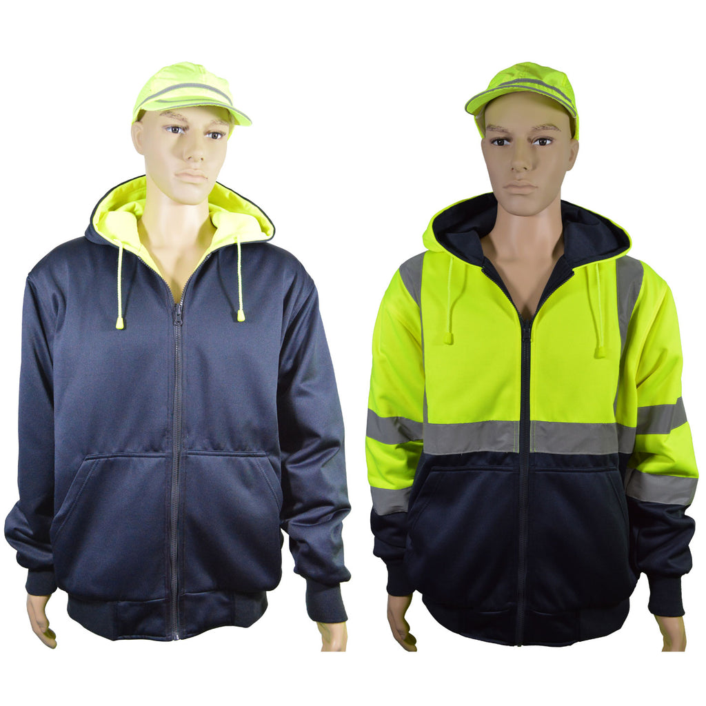 20 Oz. Double Weight Lime/Navy Reversible ANSI Class 3 Zip-Up Hooded Sweatshirt
