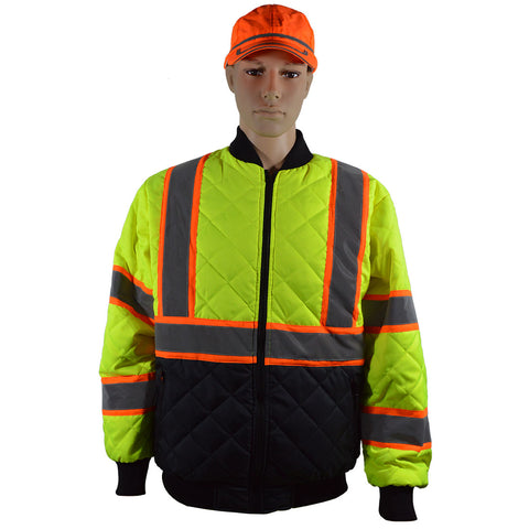 ANSI Class 3 Two Tone Lime/Orange Ultra Light Warm Down Jacket with Black bottom