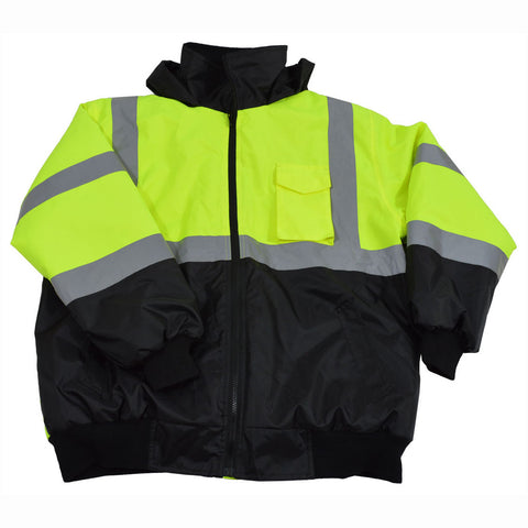 LQBBJ-C3 ANSI/ISEA LIME/BLACK Class 3 Waterproof Bomber Jacket with Sewn In Quilted Liner