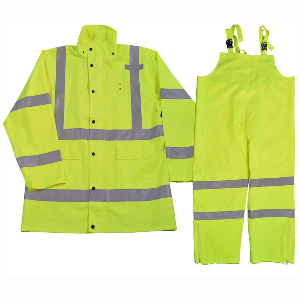 LRC-3PCS-C3 ANSI/ISEA Class 3 Lime Waterproof Rain Jacket & 3-Piece Rain suit