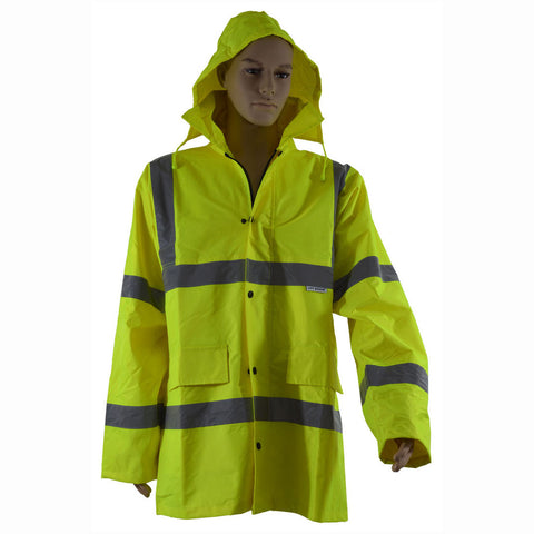 LRC-HZ/BRC-HZ ANSI Waterproof Lime Rain Parka Trench Coat with Concealed Hood