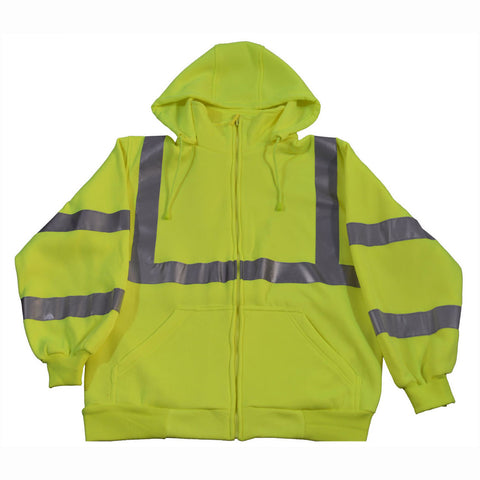 LSWS-C3 ANSI Class 3 Lime Green Zip-Up Sweat Shirt With Detachable Hood