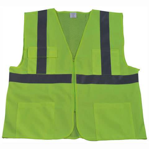 LV2/OV2-FSMB ANSI/ISEA 107-2015 CLASS II Front Solid Mesh Back 4-Pocket Safety Vests