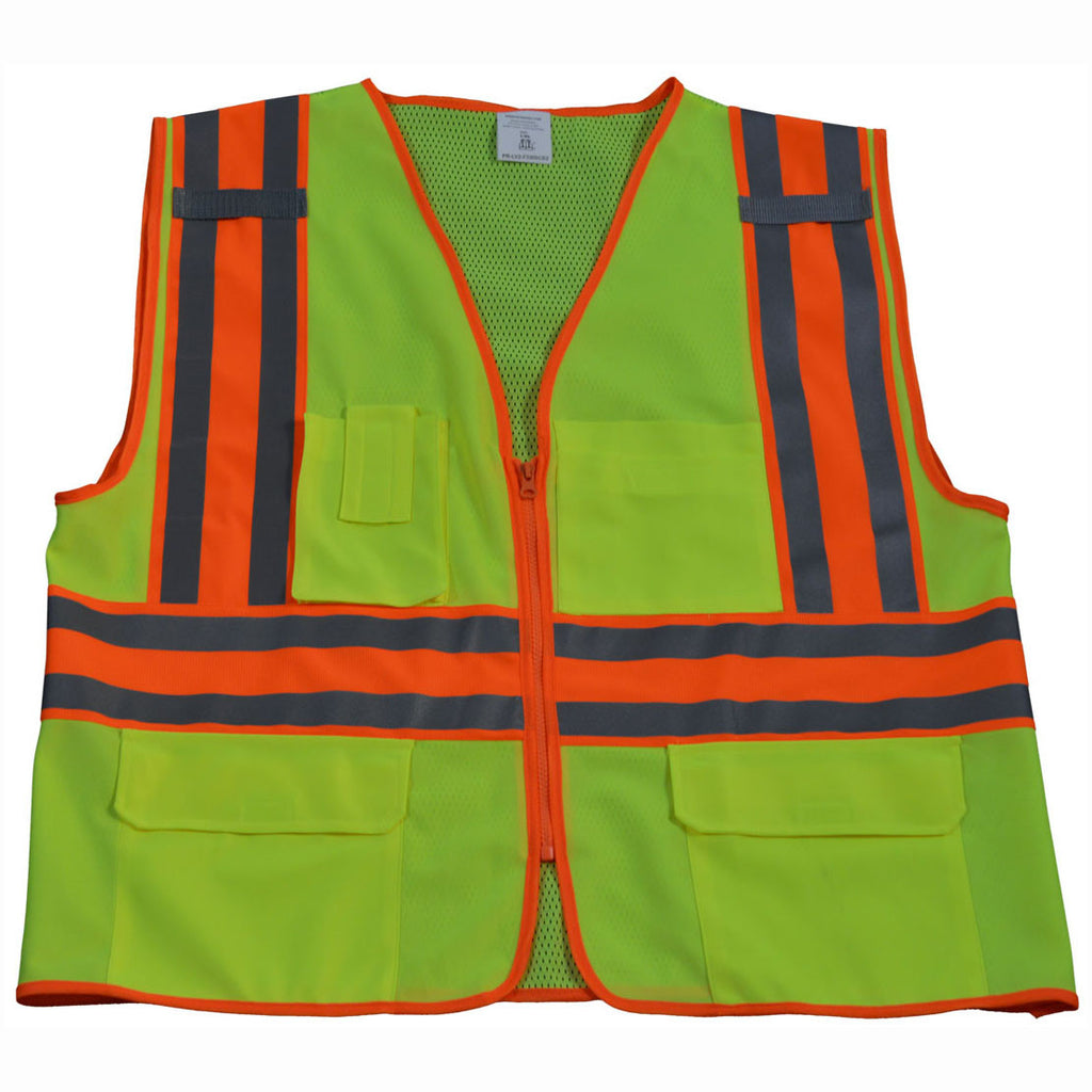 LV2-FSMBCB2 ANSI/ISEA Class II Solid Front Mesh Back Two Tone DOT Surveyors Vest
