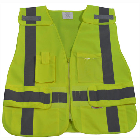 LV2/LVM2-LPSV ANSI/ISEA All Lime Expandable 5-Point Breakaway Public Safety Vest
