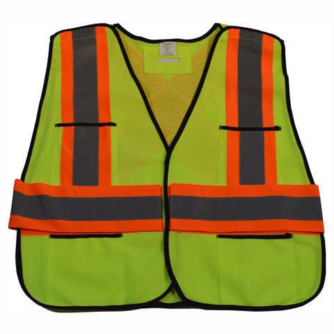 "LV2/OV2-PSVCSA ANSI & CSA Public Safety Vest, Solid Front Mesh Back, ""X"" On Back"
