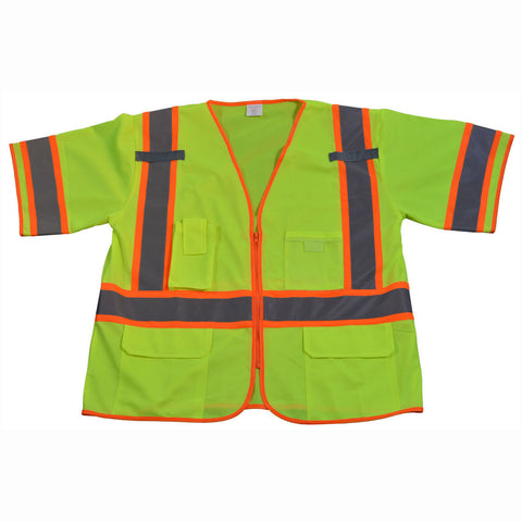 LV3/LVM3-CB1 ANSI/ISEA 107-2010 Class 3 Two Tone DOT Surveyors Safety Vest, Deluxe