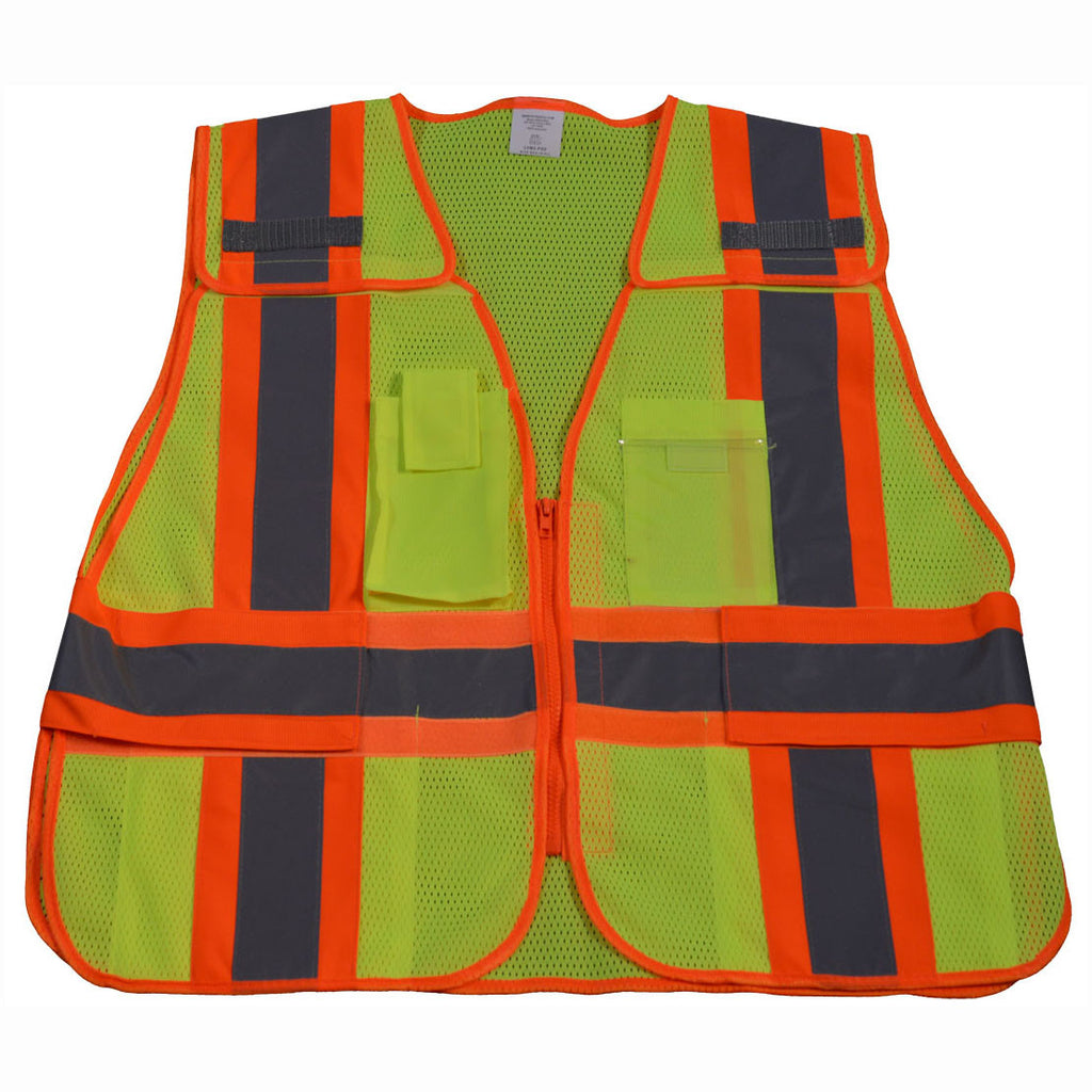 LVM2/LV2-OVM2-PSV ANSI/ISEA Lime/Orange Two Tone Expandable 5-Point Breakaway Public Safety Vest