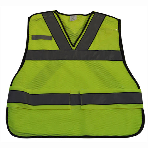 "LVM2-VNPSV ANSI V-Neck Lime Mesh Public Safety Vest ""X"" on Back"