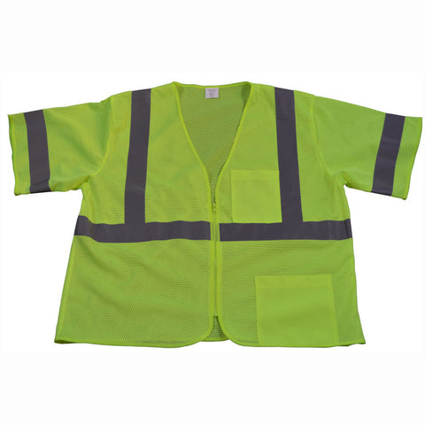 LVM3-Z ANSI/ISEA 107-2010 CLASS 3 Vest, Lime Mesh Zipper Closure