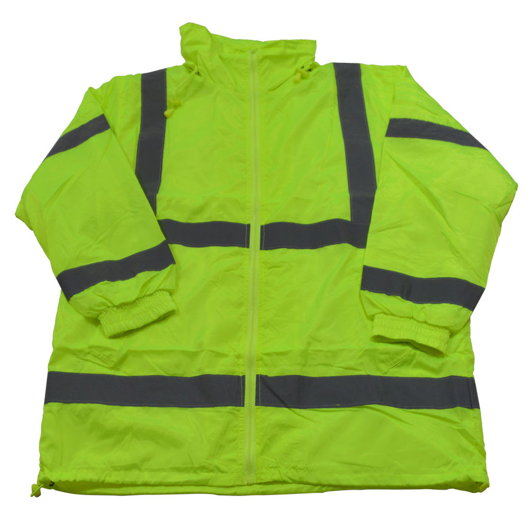 LWB-C3 ANSI Class 3 Lime Green Wind Breaker Jacket With Detachable Hood