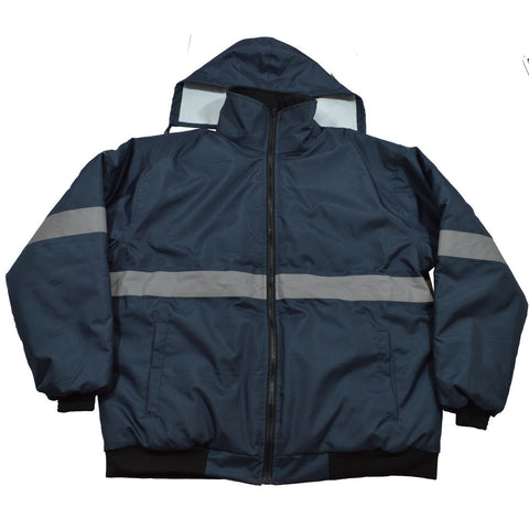 Enhanced Visibility Navy Blue Quilted Bomber Jacket