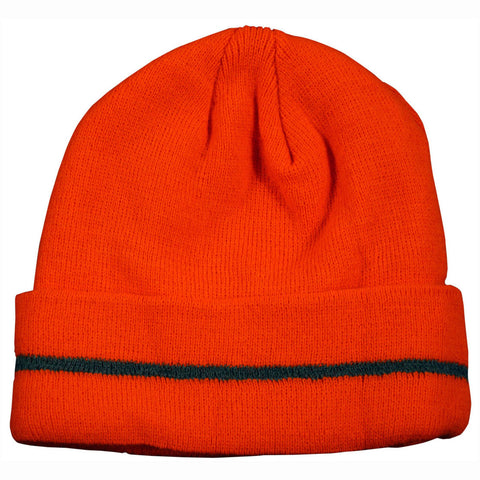 OBE-S1 Orange Safety Beanie Hat with Reflective Stripe