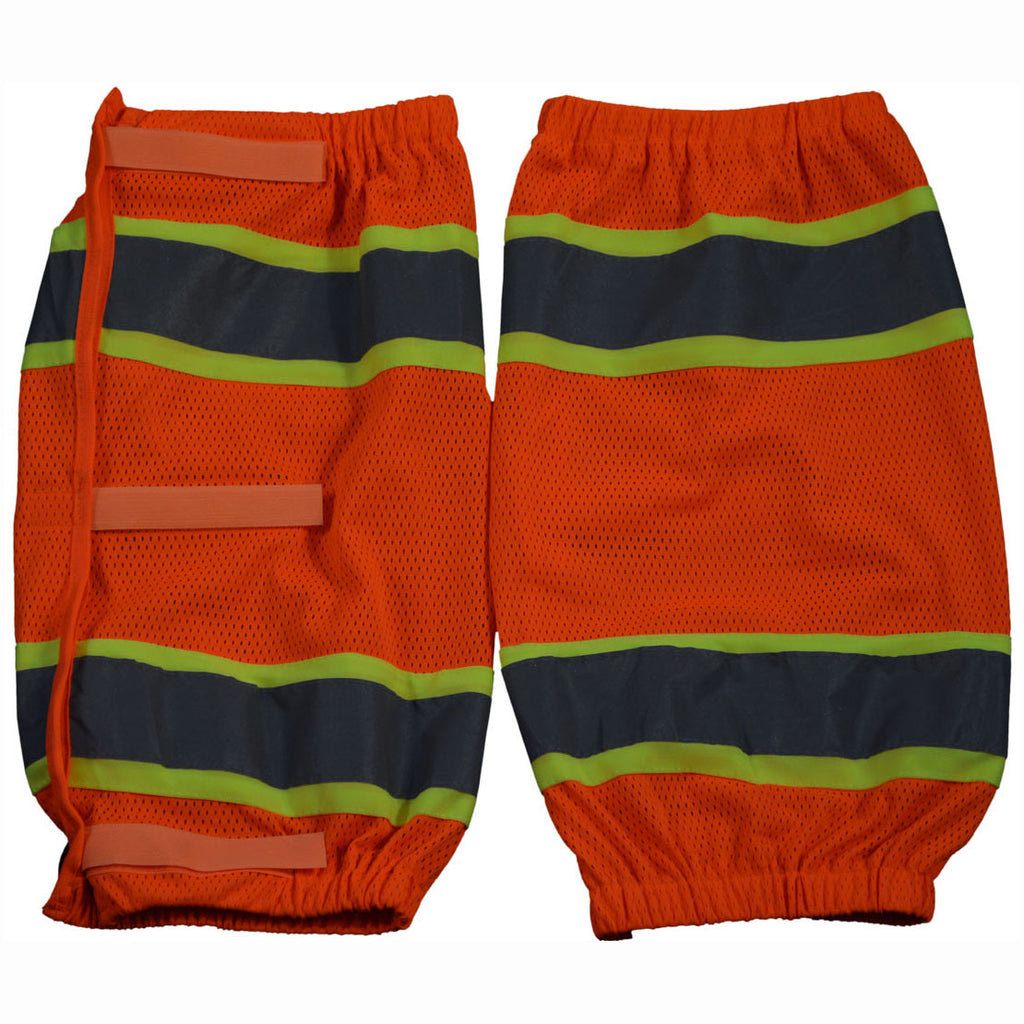 OMGL-CE ANSI Class E Orange Mesh/Lime Contrast Reflective Leggings With Adjustable Velcro Closures