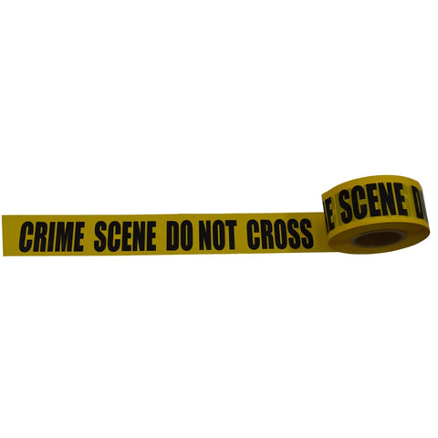"Barricade Tape 2 mil 3"" x 1000ft, yellow/black printing, CRIME SCENE DO NOT CROSS"