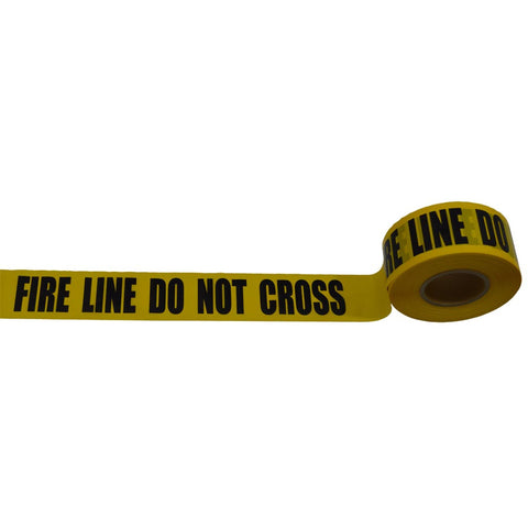 "Barricade Tape 2 mil 3"" x 1000ft, yellow/black printing, FIRE LINE DO NOT CROSS"