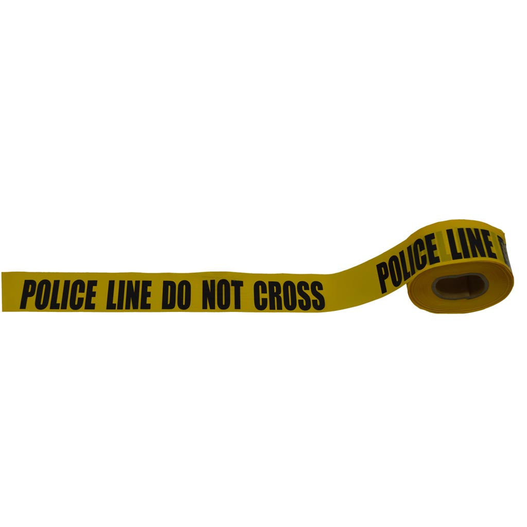 "Barricade Tape 2 mil 3"" x 1000ft, yellow/black printing, POLICE LINE DO NOT CROSS"