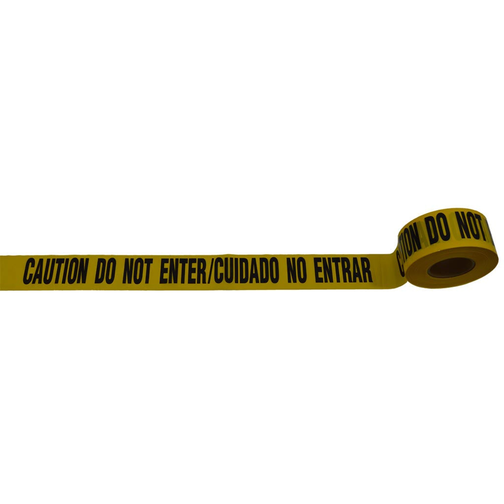 "Barricade Tape 2 mil 3"" x 1000ft Bilingual CAUTION DO NOT ENTER / CUIDADO NO ENTRAR"