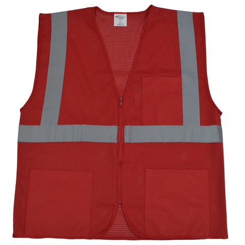 Red Mesh Safety Vest for Enhanced Safety & Identification