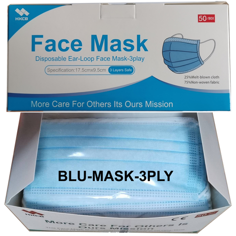 BLU-MASK-3PLY Non-Medical Use Disposable Ear-Loop 3 Ply Face Mask