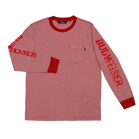 #BeenTrill Budweiser Striped Long Sleeve Tee - Red