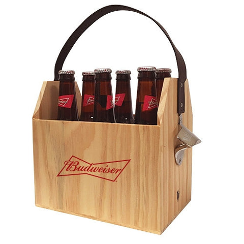 Budweiser Wooden 6-Pk Carrier