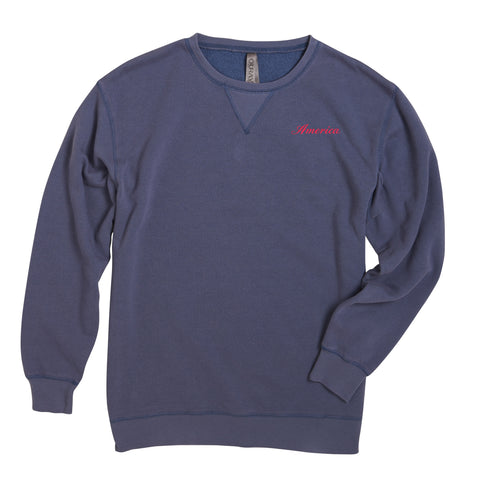 America Embroidered Sweatshirt- Navy