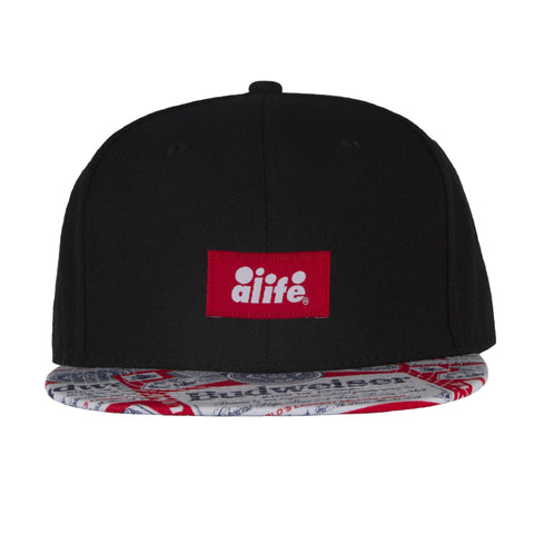 Alife X Budweiser Flat Bill Hat- Black