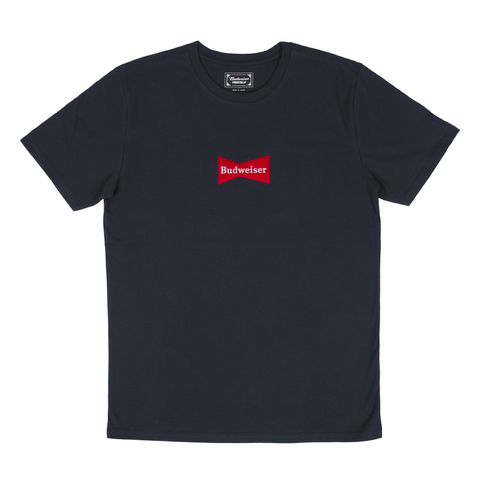 #BeenTrill Embroidered Budweiser Bowtie Tee- Navy