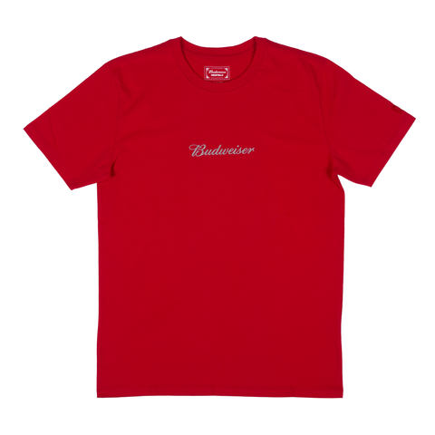 #BeenTrill Embroidered Budweiser Script Tee- Red