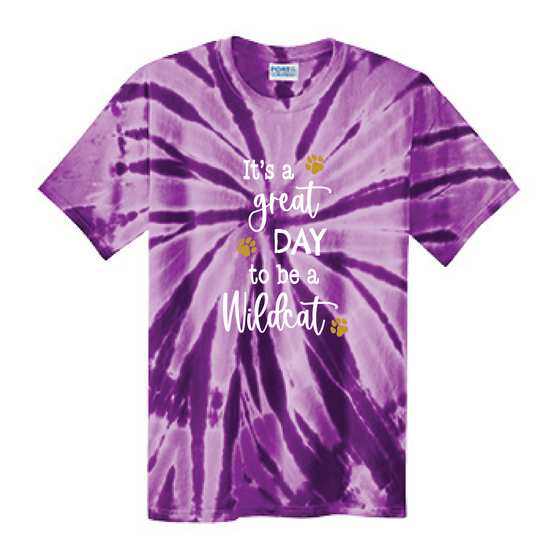 "Sanfordville School - Gold Foil and White Ink ""Great Day"" Tie Dye Shirt"