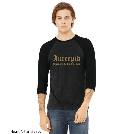 CrossFit Intrepid, Baseball T-Shirt with Gold Ink