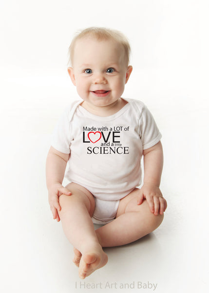 779a97092 Made with Love and Science, IVF Baby, Surrogate Baby Outfit – I Heart Art  and Baby