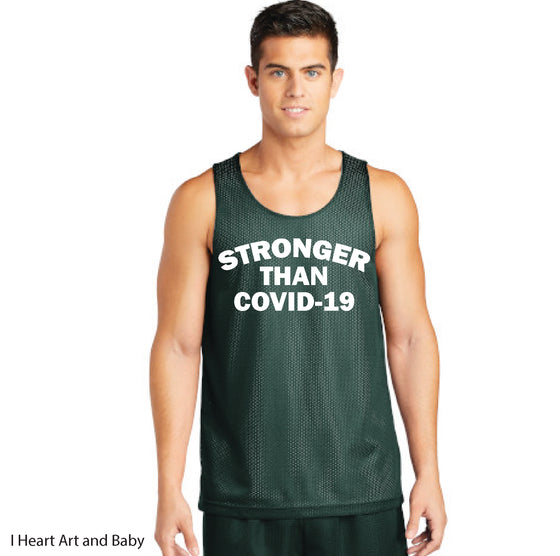 Stronger Than Covid-19 - Mesh Reversible Tank for Youth Boys