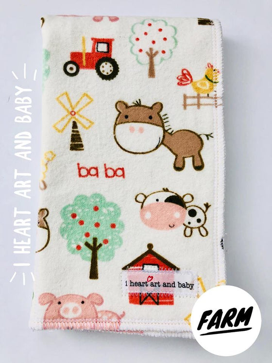 Girl Burp Cloth, Set of Six - You Choose Prints