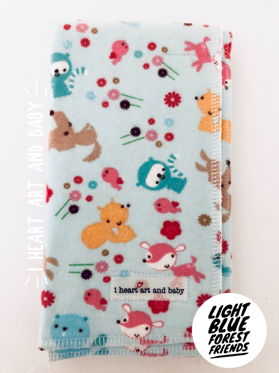 Light Blue Forest Friends Neutral Burp Cloth