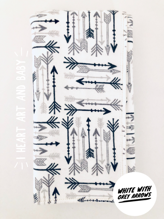 White with Grey Arrows Neutral Burp Cloth