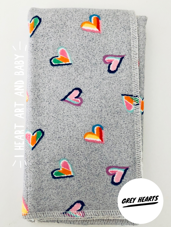 Grey Hearts Burp Cloth