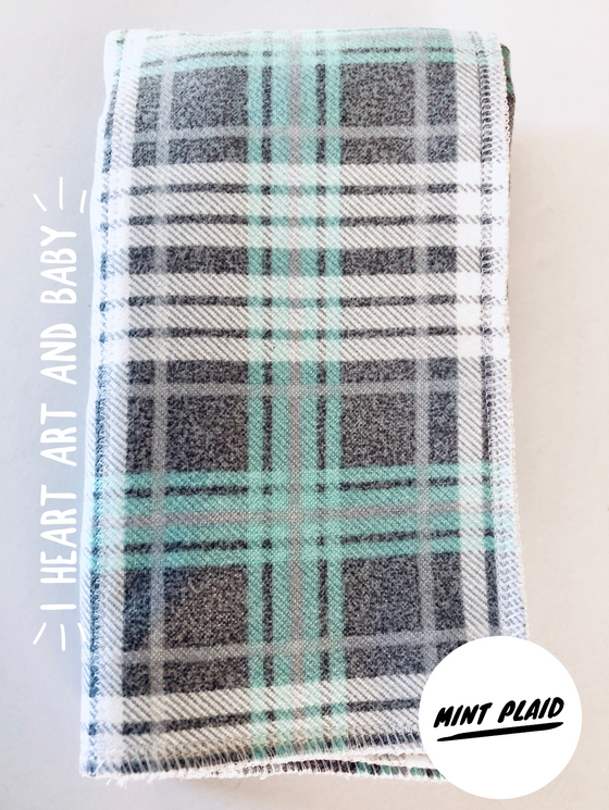 Mint Plaid Neutral Burp Cloth