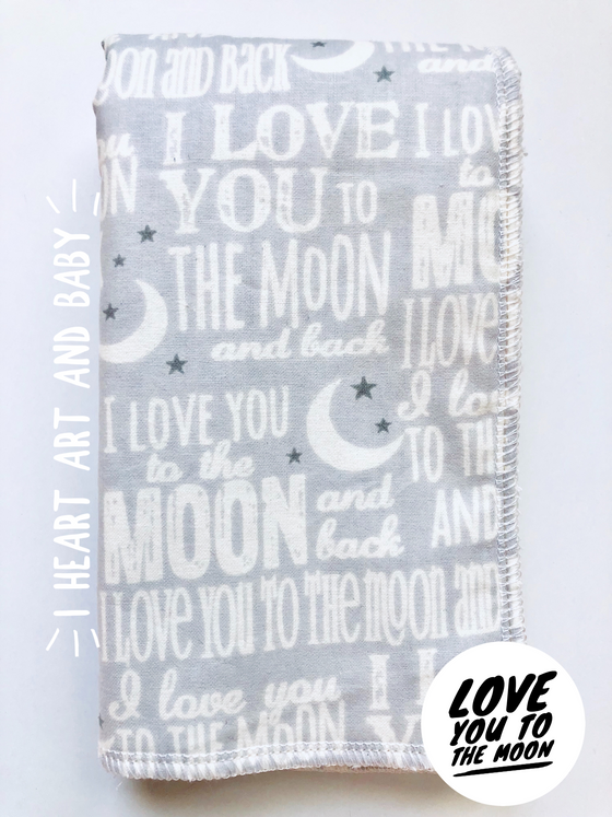Love you to the moon- boy burp cloth