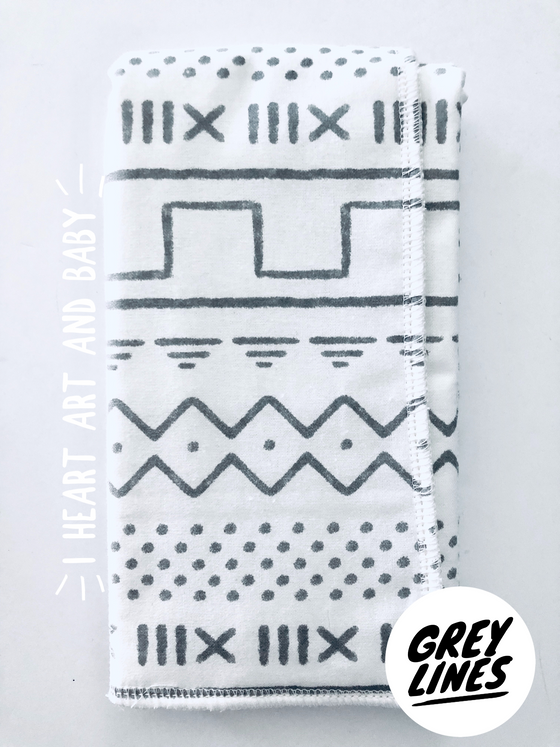 Grey Lines Neutral Burp Cloth
